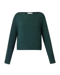 Tubular knit wool cropped sweater medium 128838
