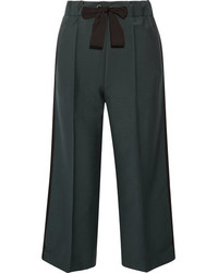 Fendi Cropped Mohair And Wool Blend Wide Leg Pants Army Green