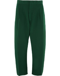 Marni Cropped Washed Silk Tapered Pants Green