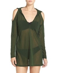 Robin Piccone Cold Shoulder Mesh Cover Up Hoodie