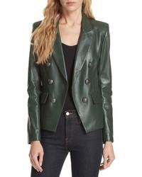 Veronica Beard Cooke Leather Dickey Jacket