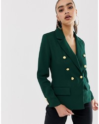 Missguided Core Military Blazer In Green