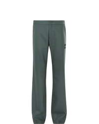 Off-White Grey Green Virgin Wool Blend Suit Trousers