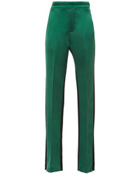 Ellery Magnitude Color Blocked Wool And Silk Satin Pants Green