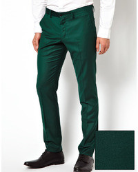 Men's Dark Green Dress Pants from Asos | Men's Fashion