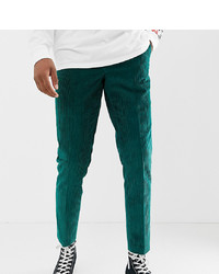 ASOS DESIGN Tall Slim Crop Smart Trouser In Teal Cord