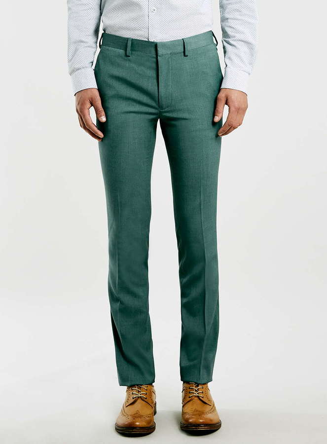 Topman Green Melange Ultra Skinny Fit Suit Pants | Where to buy ...