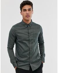 Burton Menswear Skinny Fit Oxford Shirt In Khaki