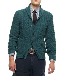 Buttoned shawl collar cardigan green medium 115063
