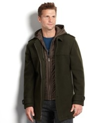 Cole Haan Coat Wool Blend Layered Duffle