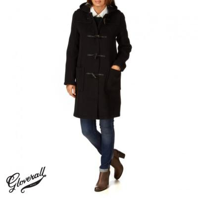 Gloverall Original Slim Long Duffle Coat Black | Where to buy ...