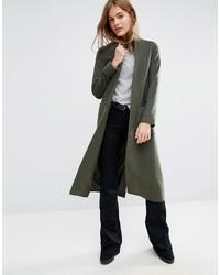 Helene Berman Duster Coat In Khaki Green