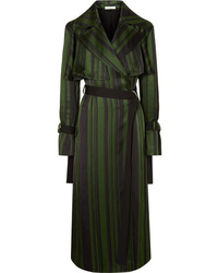 Adeam Striped Satin Trench Coat