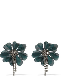 Lanvin Crystal And Organza Clip Earrings Emerald