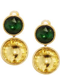 Marco Bicego Jaipur 18k Tourmaline Citrine Double Drop Earrings