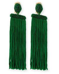 Oscar de la Renta Silk Waterfall Tassel Clip On Earrings