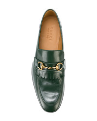 4a15497cd18 ... Gucci Leather Fringe Horsebit Loafers