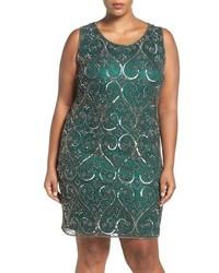 Pisarro Nights Plus Size Embellished Scroll Motif Sheath Dress