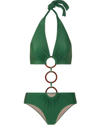 Adriana Degreas Cult Gaia Ring Embellished Cutout Halterneck Swimsuit