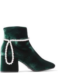 MM6 MAISON MARGIELA Faux Pearl Embellished Velvet Ankle Boots Emerald