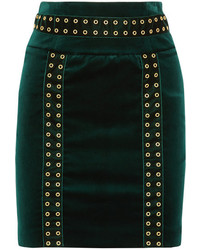 PIERRE BALMAIN Embellished Cotton Blend Velvet Mini Skirt Emerald