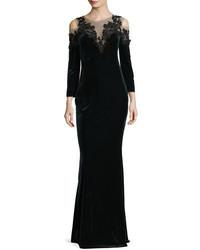 4bbf613c6d2 ... Marchesa Notte Embroidered Velvet Illusion Column Gown