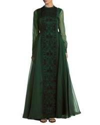 Valentino Crewneck Embroidered Silk Gown