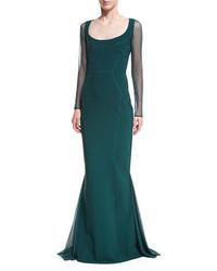 La petite robe babs sheer long sleeve mermaid gown medium 3995253