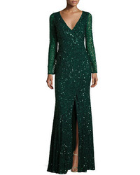 Long sleeve sequined v neck gown emerald medium 1161472