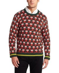 Dark Green Fair Isle Crew-neck Sweater