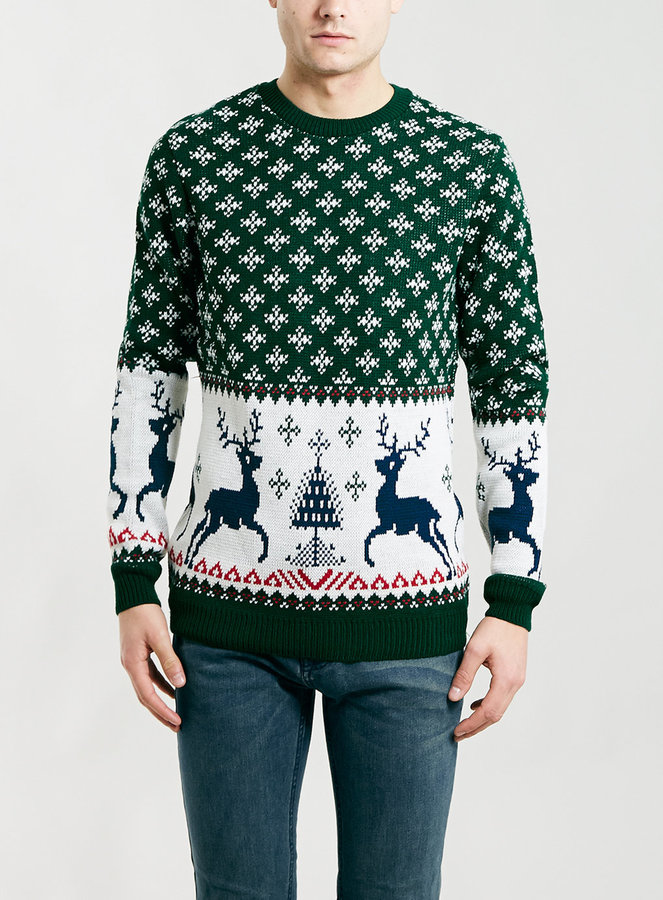 Topman Green Reindeer Christmas Sweater | Where to buy & how to wear
