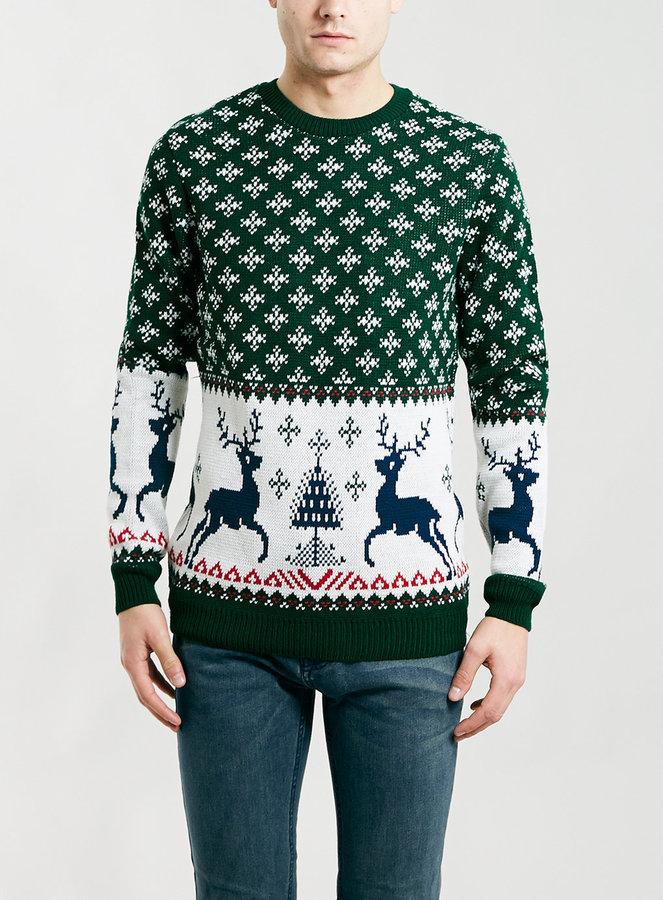topman green reindeer christmas sweater