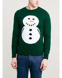 Topman Green Snowman Christmas Crew Neck Sweater