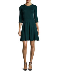 Andrew Gn 34 Sleeve Knit Fit And Flare Dress Bottle Green