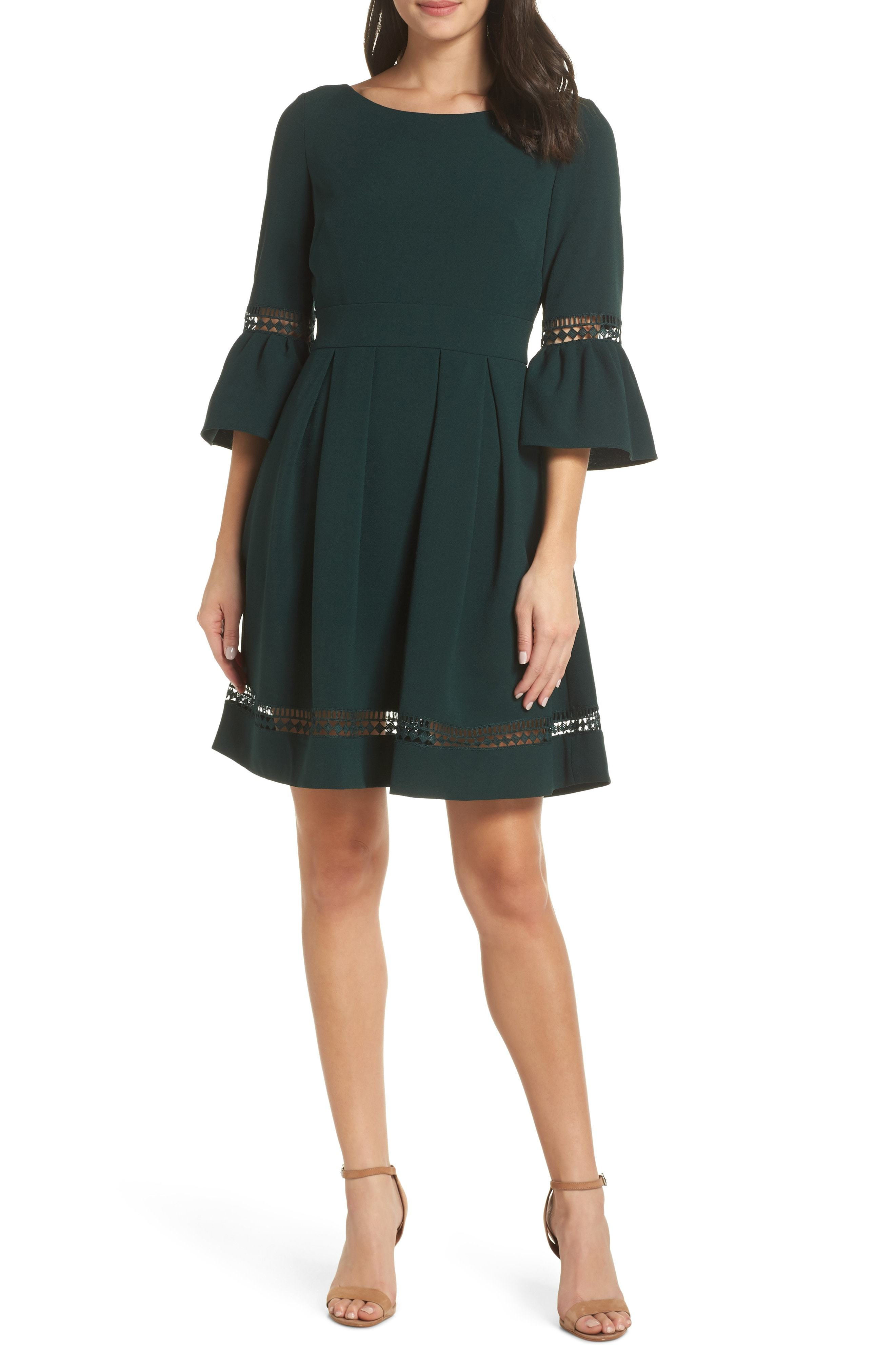 198b99def Eliza J Bell Sleeve Fit Flare Dress, $138 | Nordstrom | Lookastic.com