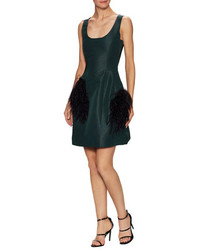 Prabal Gurung Silk Trimmed Scoopneck Flared Dress