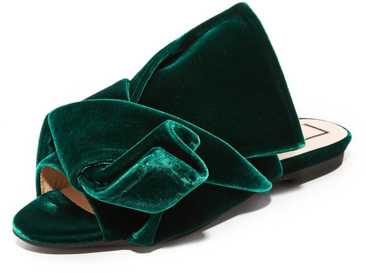 0abd844e7d7 ... Dark Green Flat Sandals No.21 No 21 Flat Slides With Bow In Velvet ...