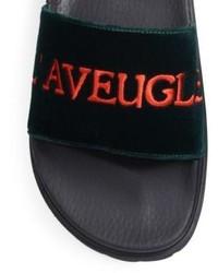 80730c3e9 Gucci Pursuit Trek Laveugle Par Amour Velvet Slides, $350   Saks ...