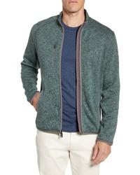 Dark Green Fleece Zip Sweater
