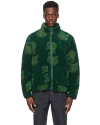 Stussy Green Sherpa Mock Neck Jacket
