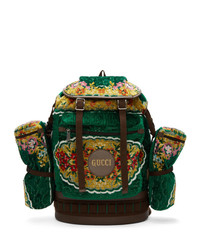 Gucci Green Oversized Tapestry Backpack