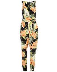 Billie and blossom orange floral sleeveless jumpsuit medium 78286