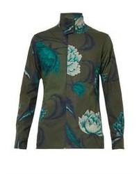 Floral print stand collar shirt medium 85816