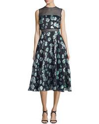 Floral print mesh inset midi dress green medium 651804