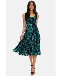 Pleated floral chiffon midi dress medium 289320