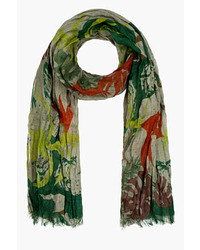 Closed Green Red Linen Crimped Printed Scarf