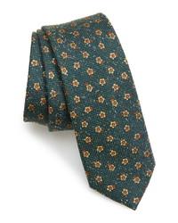 Dark Green Floral Silk Tie