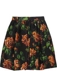 Floral print silk faille mini skirt medium 118113