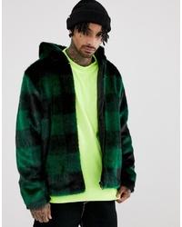 ASOS DESIGN Festival Faux Fur Jacket In Green Check