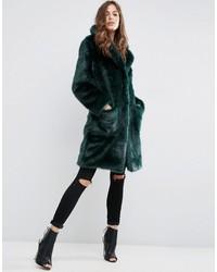 Asos Coat In Plush Faux Fur